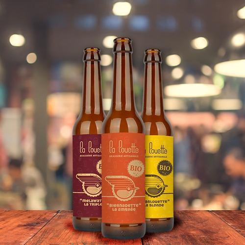 Création de logo et étiquettes de bouteille pour la Brasserie La Louette